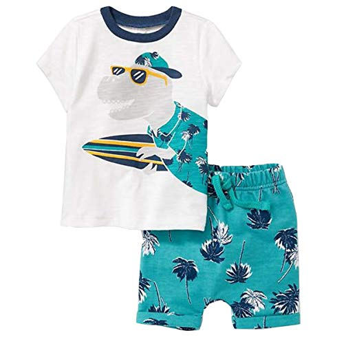 ECOLIVZIT 2T Boys Clothes Toddler Crocodile Tshirt Shorts Set 2 Piece Outfit White Shirt+Drawstring Blue Shorts