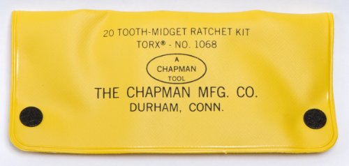 Chapman MFG 1068 Star Bits that Fit Torx Screws, Screwdriver Kit 9 Pieces - Includes Midget Ratchet, 7 Star Insert Bits and 1 Spinner packed in a Heavy Duty Vinyl Case all Made in the USA by Chapman MFG (Image #1)