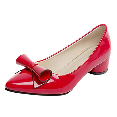 sual Point Toe Slip-On Work Shoes Ladies Square Heel Butterfly Knot Office Single Shoes Red ()