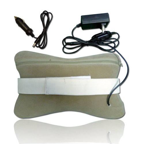 SUNMAS Infrared Heating Neck Shiatsu Massage Pillow for Home Office Car Use Gray-white