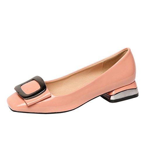 Binying Damen Quadratische-Zehe Blockabsatz ohne Verschluss Metall Pumps Pink
