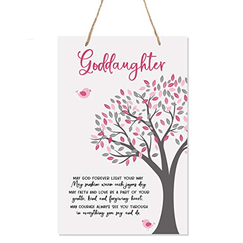 LifeSong Milestones Baptism Christening Modern Rope Tree Sign for Son Daughter Godchild Godson Goddaughter Child First Holy Communion Gift Mother Father Godparents 8
