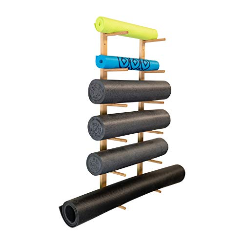 Ultra Fitness Gear Premium Foam Roller and Yoga Mat Rack, Storage Shelf, Bamboo Construction, Mounting Hardware Included