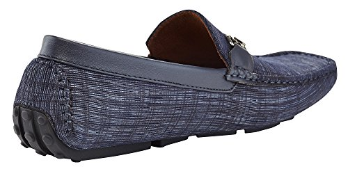 Shoe Driving Stripe Moccasin Penny Loafer Men's Slip Marco Navy Fabric On Vitale TvwzEq8