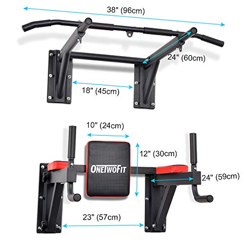 OneTwoFit Multifunctional Wall Mounted Pull Up Bar Power Tower Set Chin Up Station Home Gym Workout Strength Training Equipment Fitness Dip Stand Supports to 330 Lbs OT076 by ONETWOFIT (Image #3)