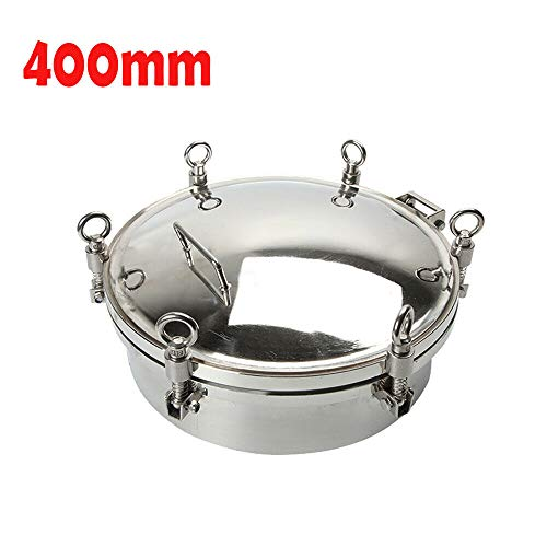 NICE CHOOSE Manhole Cover, Stainless Steel Circular Negative Pressure Cover Sanitary 3 Bar Tank Round Manway Door with Handle Wheel - US Shipping (400mm)