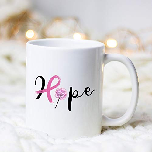 Gifts Creatory - Breast Cancer Hope, Mug, Breast Cancer Mug, Breast Cancer Awareness, Breast Cancer Survivor Gift, Breast Cancer Warrior, Pink Ribbon - Coffee Mug 11oz ()