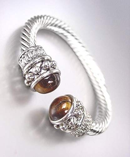 NEW BALINESE Designer Chunky Silver Cable Brown Tigers Eye Stone Cuff Bracelet ()