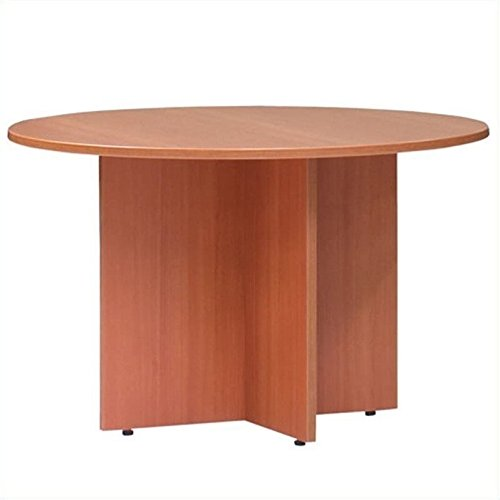 Offices to Go Round 3.5' Conference Table with X-Shaped Base-American Mahogany - American Mahogany