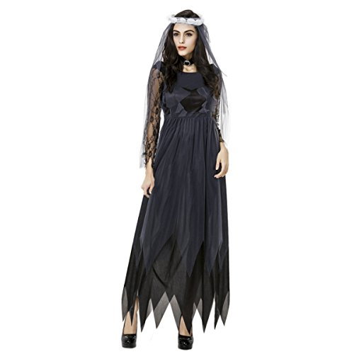 (Quesera Women's Corpse Bride Costume with Veil long Gothic Halloween Scary Outfits,Black,Tag size XL=US size)