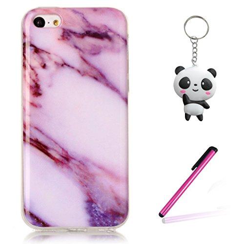 iPhone 6 Plus / 6S Plus Coque,Marbre violet Premium Gel TPU Souple Silicone Clair Bumper Protection Housse Arrière Étui Pour Apple iPhone 6 Plus / 6S Plus + Deux cadeau