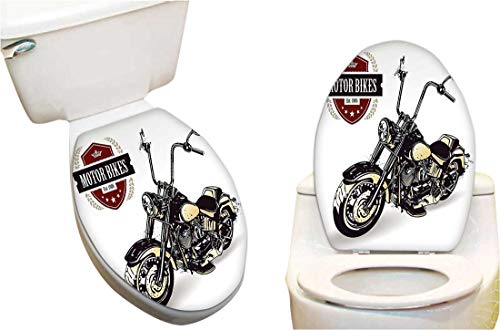 Toilet seat Sticker Chopper Customized Motorcycle with Club Insignia Motor Bikes Hippie Style Classic Black Be Toilet Seat Sticker Vinyl Toilet Lid Decal Decor 13