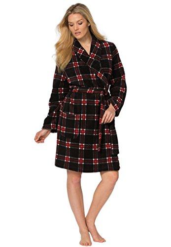 Dreams & Co. Women's Plus Size Plush Print Fleece Robe Black Red Plaid,1X