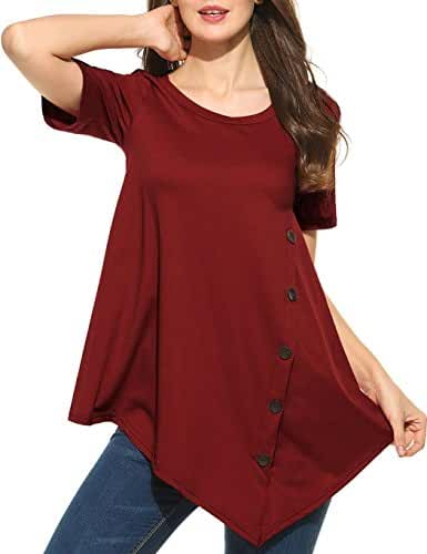 Sweetnight Women's Casual Scoop Neck Short Sleeve Solid Asymmetrical Pleated T-Shirt Tunic Top Plus Size