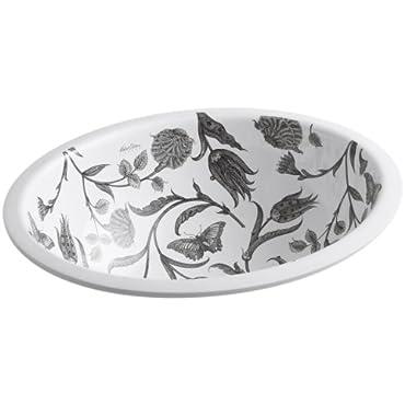 KOHLER K-14218-BT-0 Botanical Study Design on Caxton Undermount Bathroom Sink, White