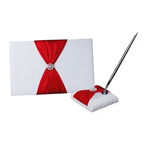 Wedding Guest Book Pen and Stand Set Handmade Rose Flower Decor, 70 Pages in Total (Red)