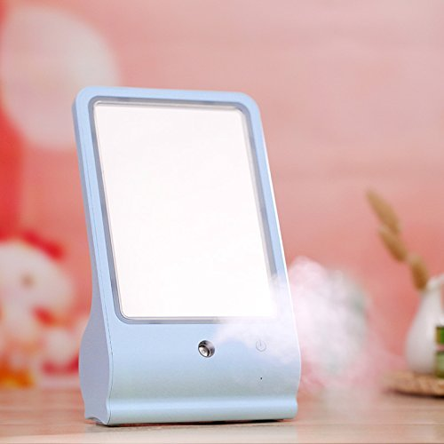 LED Makeup Vanity Mirror For Women | Face Spray Humidifier For Hydrating & Moisturizing Skin & Easy Makeup Application | USB Portable Glass Mirror With Sturdy Base For Home, Work & Travel (Blue) by FILIND