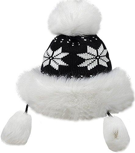 - Bienvenu Winter Mongolian Hat Women Trapper Russian Style Hat Cossack Pompom, Black