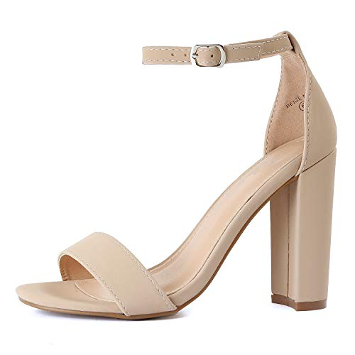 Guilty Heart | Shirley-9 Beige Nubuck, 9 (Heel Shoe Sexy Chunky Womens)