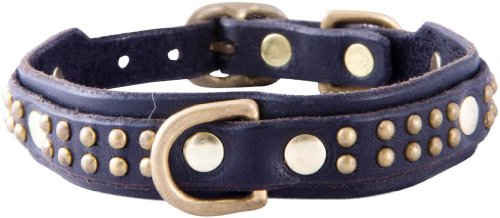 "Paco Collars - ""Patrick Deluxe"" - Handmade Leather Small Dog Collar- 3/4"" Wide - Brass - Black 12""-14"""