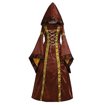 Cinnamou Vestido de Retro Medieval renacentista de Las Mujeres Vestidos Largos de Cuello Cuadrado gótico Vintage Disfraz