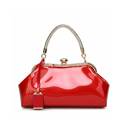 Femme à Blue Color Wine Brillant Verni Red pour Tsutou Main Coquille Cuir Sac à en w45CqCHnv
