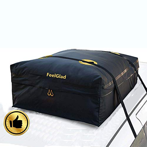15 Cubic Feet Rooftop Cargo Carrier Bag - Perfect for Car with/Without Rack - Heavy Duty Roof Top Luggage Storage Bag with 2 Reinfored Long Straps ()