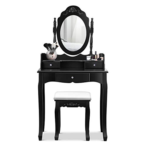 Giantex Vanity Table Set with Mirror and Stool for Bedroom Modern Wood Style Cushioned Bench Oval Mirrored Multifunctional Top Removable Writing Desk Dressing Tables for Girls, 3 Drawers (Black)