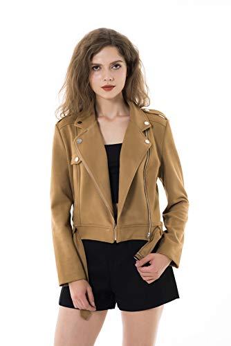 Apperloth Large Jackets for Women Long Sleeve Faux Suede Zipper Short Plus Size Coat