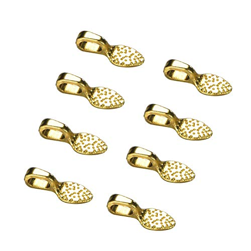 100pcs Antique Gold Spoon DIY Oval Jewelry Scrabble Glue On Bails Earring Bail for Fitting Glass Cabochon Tiles Jewelry Marking 15mm x 5mm (100pcs Gold)