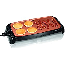 Hamilton Beach Durathon Ceramic Griddle Electric with 200 square inch PTFE & PFOA Free Cooking Surface (38519R)
