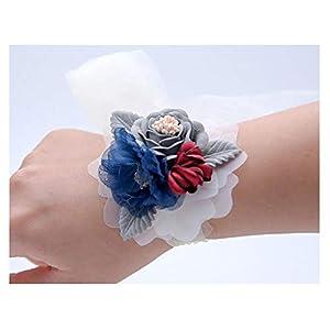 HappyERA Wedding Wrist Flowers Bridesmaid Silk Ribbon Corsages Wrist Flowers 37