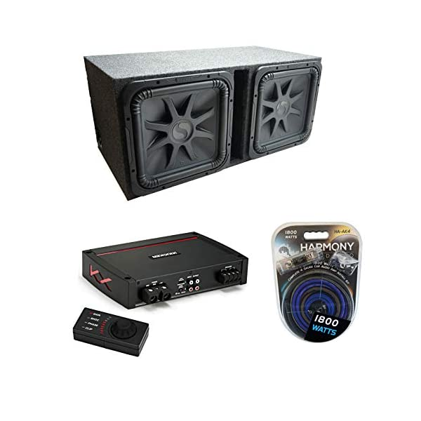 Kicker-Car-Audio-Solobaric-15-Dual-Loaded-Vented-Sub-Box-Bundle-with-Kicker-Car-Audio-KX-Series-Class-D-3200W-Amplifier-Harmony-Audio-Install-kit