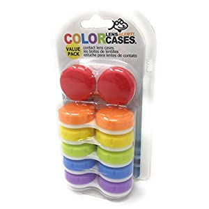 Contact Lens Case, Color Case, Value Pack (Pack of 6)