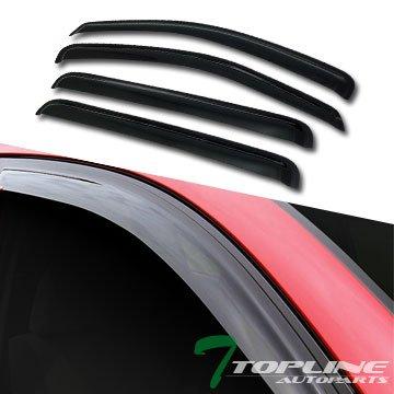 Topline Autopart Smoke Window Visors Deflector Vent Shade Guard 4 Pieces For 04-10 Dodge Durango ()