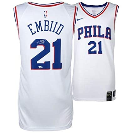 Amazon.com  JOEL EMBIID Philadelphia 76ers Autographed White Nike Jersey  FANATICS  Sports Collectibles 069f254ff