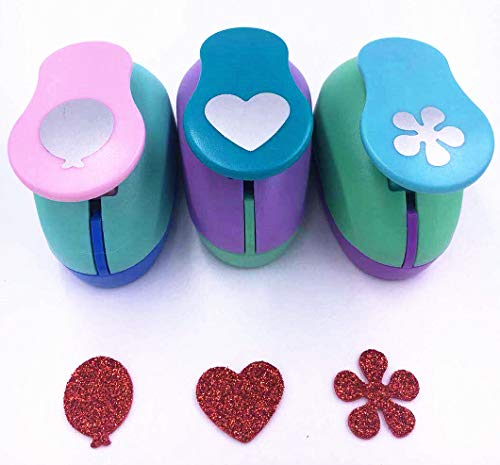 TECH-P Creative Life Hand Press Paper Craft Punch,Card Scrapbooking Engraving Kid Cut DIY Handmade Hole Puncher-3 Pack (Balloon+Heart+Flower)
