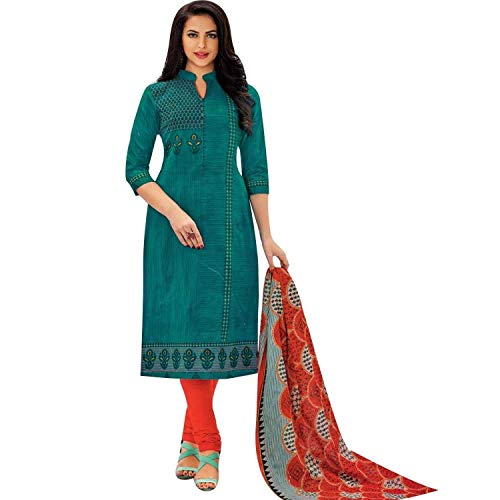 - Ready to Wear Pure Cotton Ethnic Printed Salwar Kameez with Churidar Pants