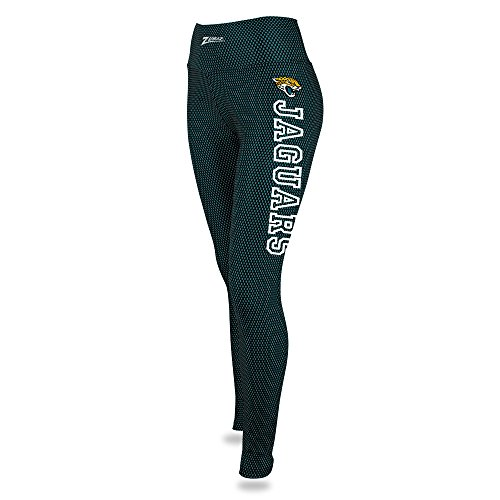 Zubaz NFL Jacksonville Jaguars Female Printed Mesh Leggings, Black/Jaguar Teal, X-Large