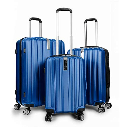 Deco Gear Travel Elite Series – 3 Piece Hardside Spinner Luggage Set (Blue)(20″, 24″, 28″)
