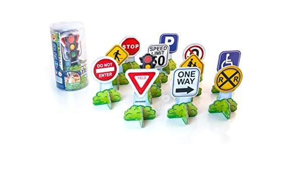 Miniland- Minimobil: Traffic Signs (EE.UU.) Señales de tráfico EEUU, Colores (27462): Amazon.es: Juguetes y juegos