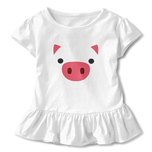 Sheridan Reynolds Pink Pig Face Funny Farm Animal Toddler Girls' T Shirt Cotton Basic Outfit Tee ()