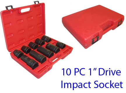 10 PC 1'' Drive Impact Socket Truck Wheel Tire Service SAE Metric 15/16'' to 1-1/2 by Generic