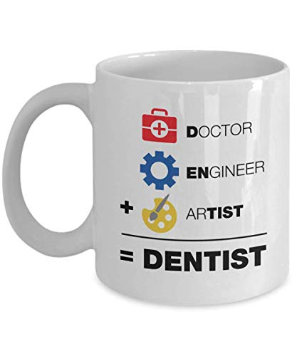 A Doctor, An Engineer & An Artist Is Equal To A Dentist Funny Equation Themed Coffee & Tea Gift Mug Cup, Home Décor, Office Decoration, Stuff & Christmas Or Graduation Gifts For Men & Women Dentists
