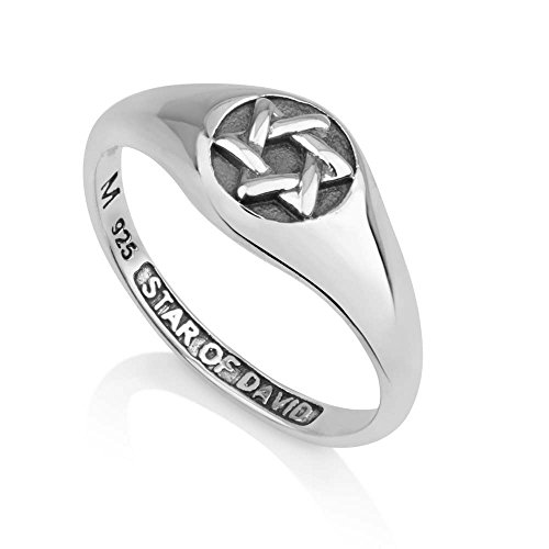(Marina Jewelry 925 Sterling Silver and Enamel Ring, Womens or Mens, Embossed Star of David, Size)