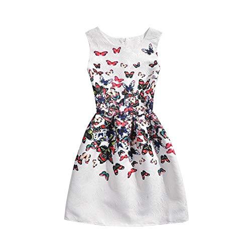 Kaured Good Girls Dress Summer Butterfly Floral Print Teenagers Dresses for Girls Designer 6-12Y,7,WhiteButterfly2]()