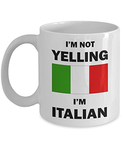 Italian Mom (I'm Not Yelling I'm Italian Mug, 11 oz Ceramic White Coffee Mugs, Perfect Funny Tea Cups, Novelty Gifts With Sarcastic Hilarious Sayings, Funny Italian Coffee Mug, Italian Mom or Italian Dad Gift)