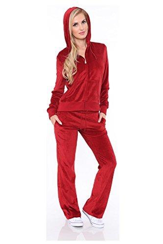 (Women's Athletic Soft Velour Zip Up Hoodie & Sweat Pants Set Jogging Suit (Plus Size 2XL, Red))