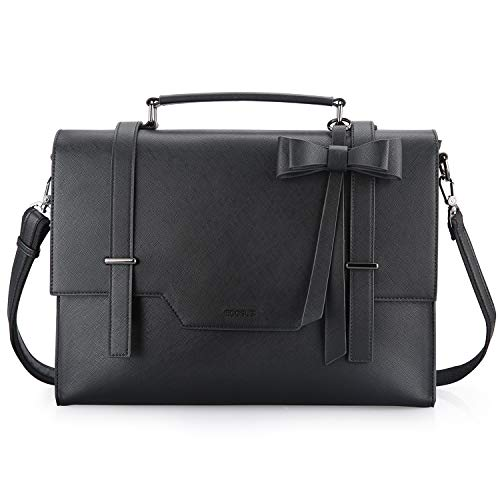 ECOSUSI Laptop Messenger Bag Briefcase for Women Satchel Handbags 15.6 inch Laptop Bag Crossbody Purse with Padded Compartment for Office Travel College