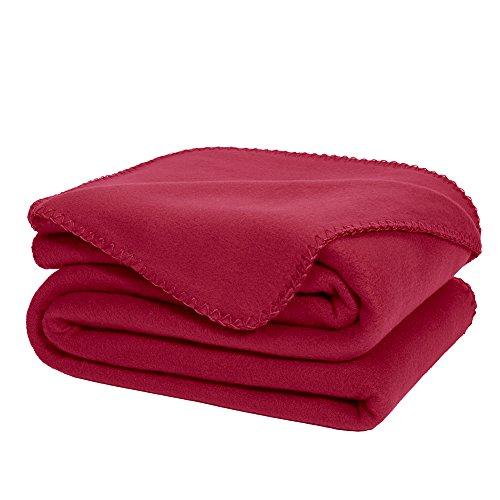 Dozzz Super Soft Fleece Throw Blanket Burgundy Ultra Cozy